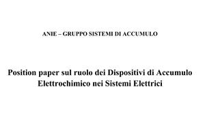 Position Paper ANIE sul ruolo dei Dispositivi di Accumulo..