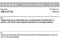 Norma Italiana CEI 0-21;V2 del Dicembre 2013.