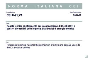 Norma Italiana CEI-021;v1 del Dicembre 2014.