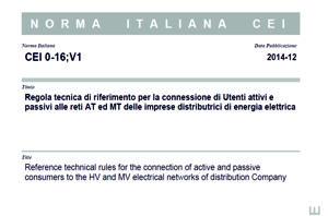 Norma Italiana CEI-016;V1 del Dicembre 2014