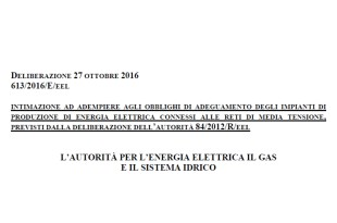 Deliberazione 27 ottobre 2016 – 613/2016/E/EEL